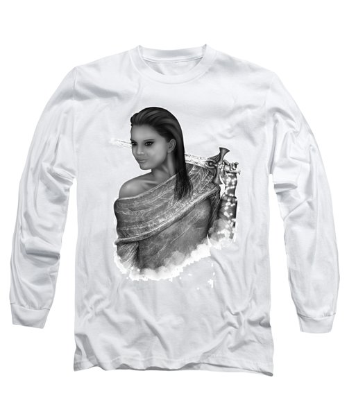 Long Sleeve T-Shirt featuring the painting After The Battle Black And White Female Fantasy Art by Raphael Lopez