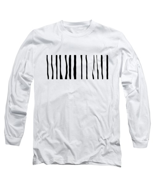 Organic No 12 Black And White Line Abstract Long Sleeve T-Shirt