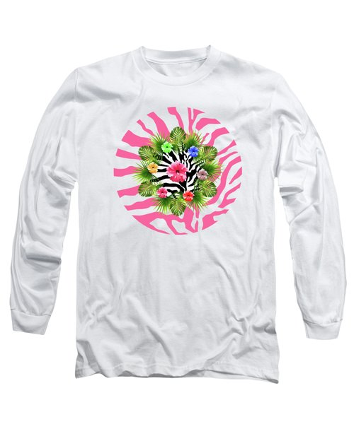 Tropical Hibiscus And Exotic Pink Zebra Stripes Long Sleeve T-Shirt