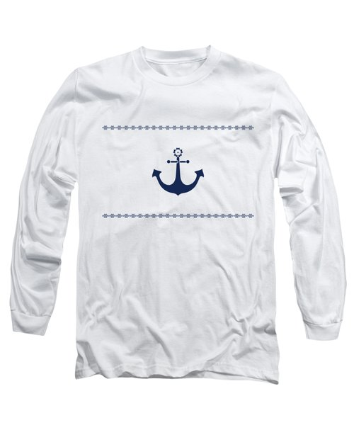 Long Sleeve T-Shirt featuring the digital art Anchor With Knot Border In Blue by Helga Novelli