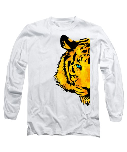 Half Tiger Digital Painting Long Sleeve T-Shirt