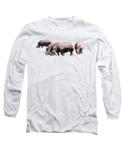 Long Sleeve T-Shirt featuring the photograph Group Of White Rhino by Aidan Moran