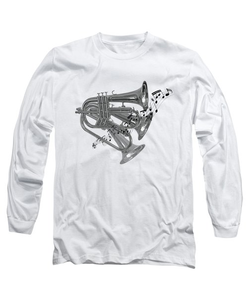 Trumpet Fanfare Black And White Long Sleeve T-Shirt by Gill Billington