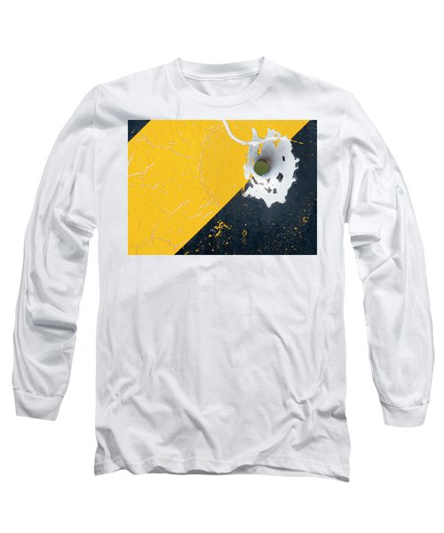 Bullet Hole On The Yellow Black Line Long Sleeve T-Shirt by Bill Kesler