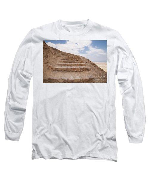 Long Sleeve T-Shirt featuring the photograph Stairway To Heaven - Masada, Judean Desert, Israel by Yoel Koskas