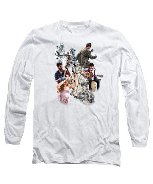 Asheville Buskers Collage Long Sleeve T-Shirt by John Haldane