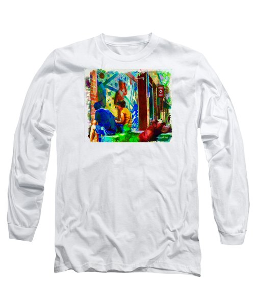 Long Sleeve T-Shirt featuring the painting Ashville Art District by Ted Azriel
