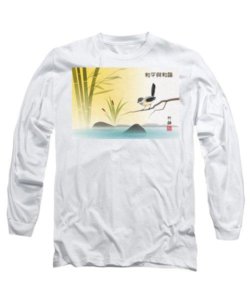 Asian Art Chickadee Landscape Long Sleeve T-Shirt