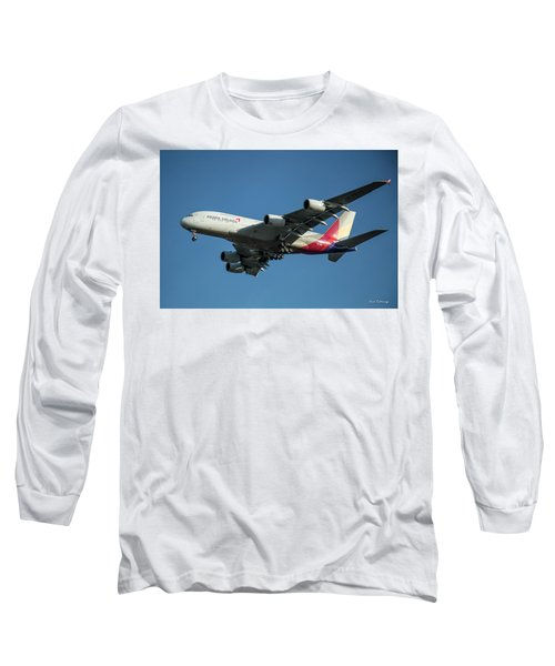 Asiana Airlines Airbus A380 H L 7625 Landing L A X Los Angeles Airplane Art  Long Sleeve T-Shirt