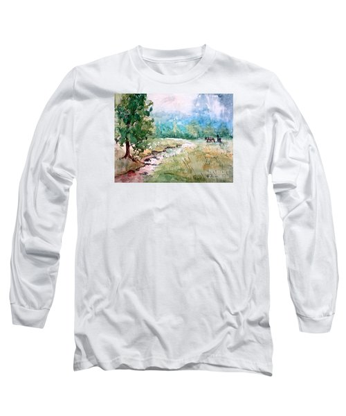 Long Sleeve T-Shirt featuring the painting Aska Farm Creek by Gretchen Allen