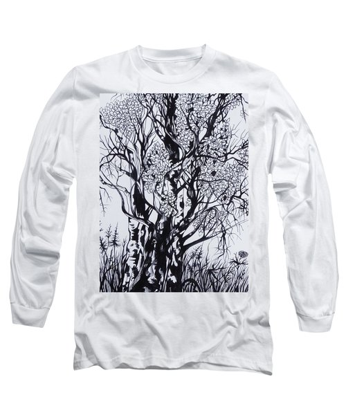 Long Sleeve T-Shirt featuring the drawing Aspens by Anna  Duyunova