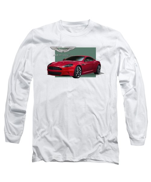 Aston Martin  D B S  V 12  With 3 D Badge  Long Sleeve T-Shirt by Serge Averbukh