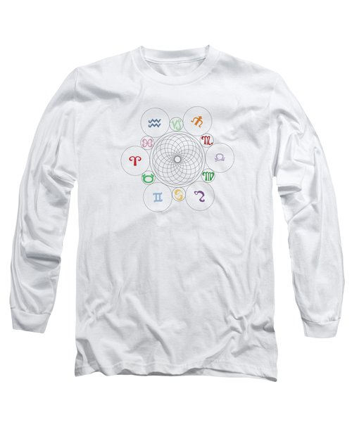 Astrological Sacred Geometry Image Long Sleeve T-Shirt by Shelley Overton