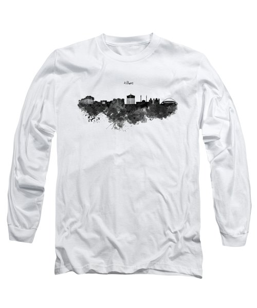 Athens Black And White Skyline Long Sleeve T-Shirt by Marian Voicu