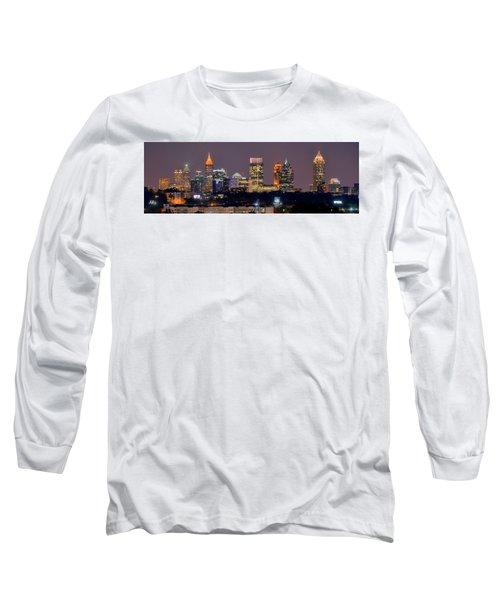 Atlanta Skyline At Night Downtown Midtown Color Panorama Long Sleeve T-Shirt
