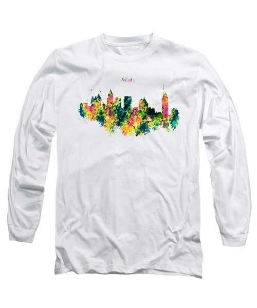 Atlanta Watercolor Skyline  Long Sleeve T-Shirt by Marian Voicu