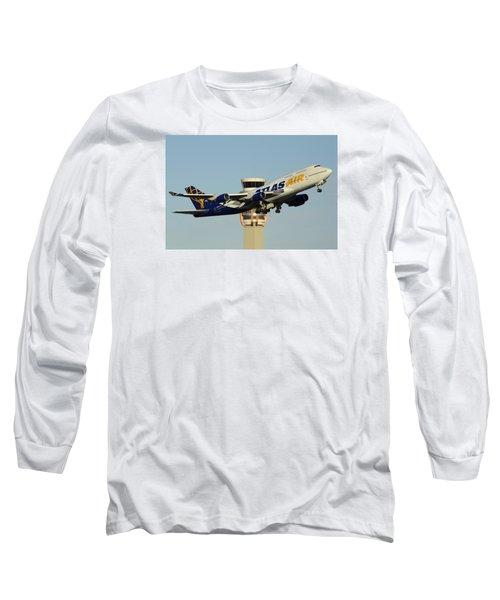 Atlas Boeing 747-446 N465mc Phoenix Sky Harbor January 3 2015 Long Sleeve T-Shirt by Brian Lockett