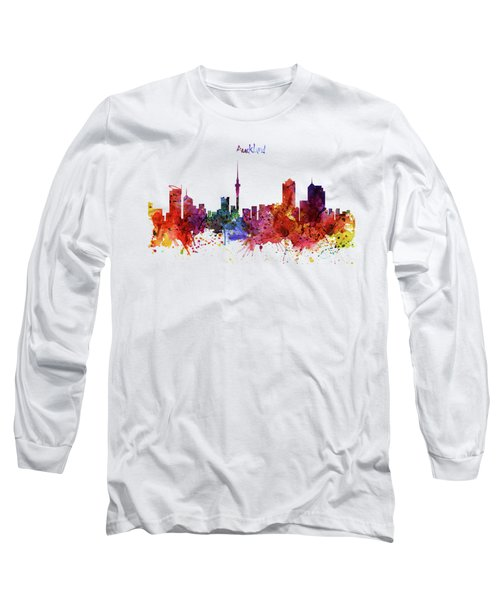 Auckland Watercolor Skyline Long Sleeve T-Shirt
