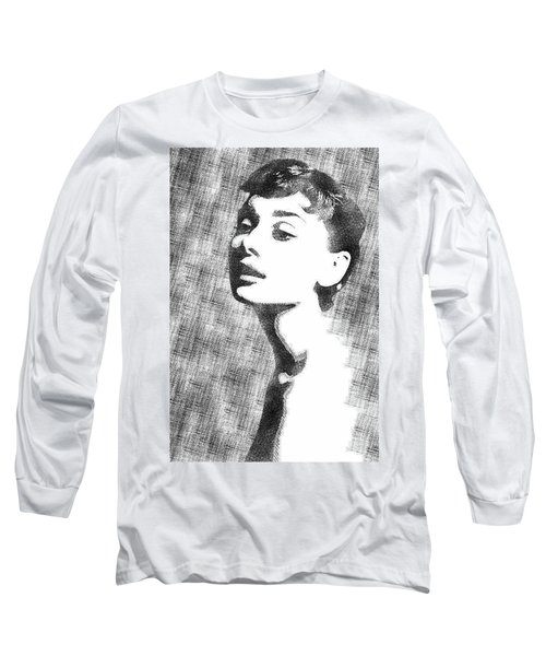 Audrey Hepburn Bw Portrait Long Sleeve T-Shirt by Mihaela Pater