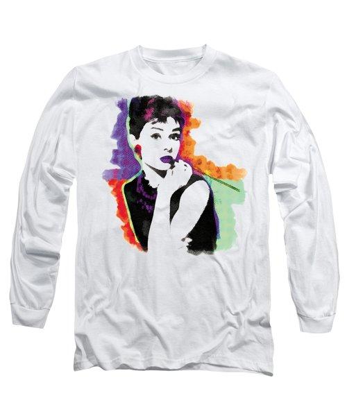 Audrey Hepburn Pop-art Long Sleeve T-Shirt by Magdalena Raszewska