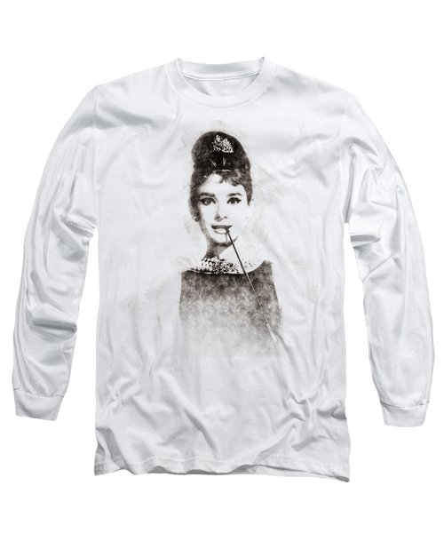 Audrey Hepburn Portrait 01 Long Sleeve T-Shirt by Pablo Romero