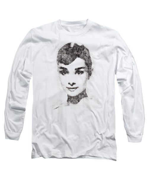 Audrey Hepburn Portrait 02 Long Sleeve T-Shirt by Pablo Romero