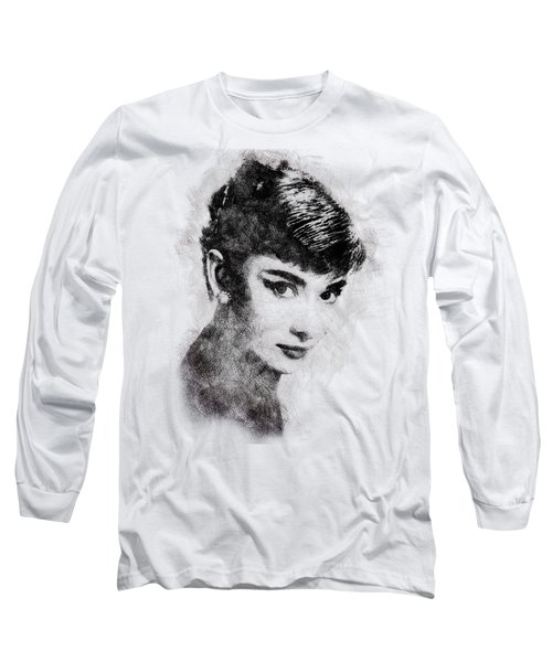 Audrey Hepburn Portrait 03 Long Sleeve T-Shirt by Pablo Romero