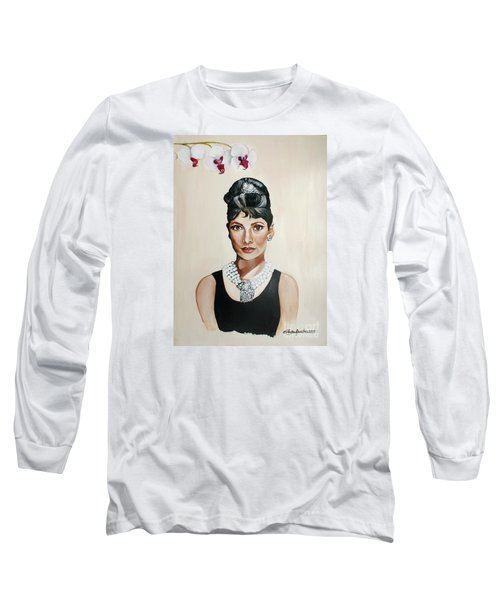 Audrey Hepburn Long Sleeve T-Shirt by Shelley Overton