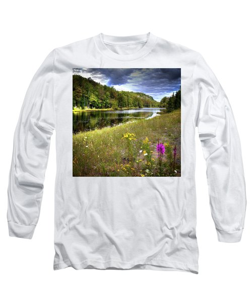 Long Sleeve T-Shirt featuring the photograph August Flowers On The Pond by David Patterson
