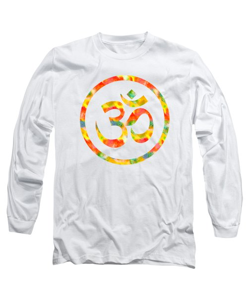 Aum Symbol Abstract Digital Painting Long Sleeve T-Shirt by Georgeta Blanaru