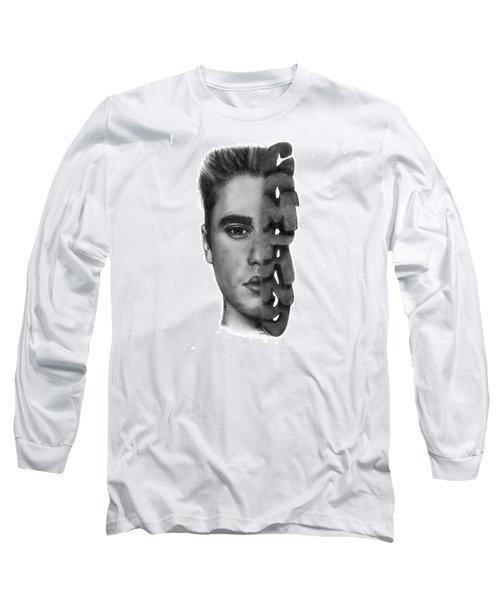 Justin Bieber Drawing By Sofia Furniel Long Sleeve T-Shirt