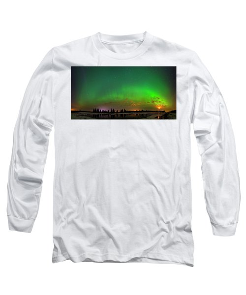 Long Sleeve T-Shirt featuring the photograph Aurora Over Pond Panorama by Dan Jurak