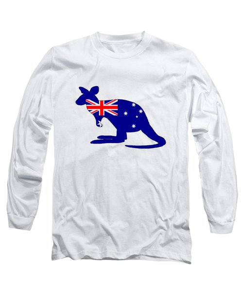 Australian Flag - Kangaroo Long Sleeve T-Shirt by Mordax Furittus