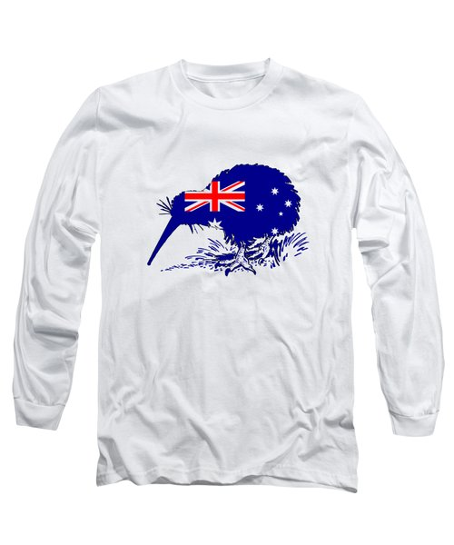 Australian Flag - Kiwi Bird Long Sleeve T-Shirt by Mordax Furittus
