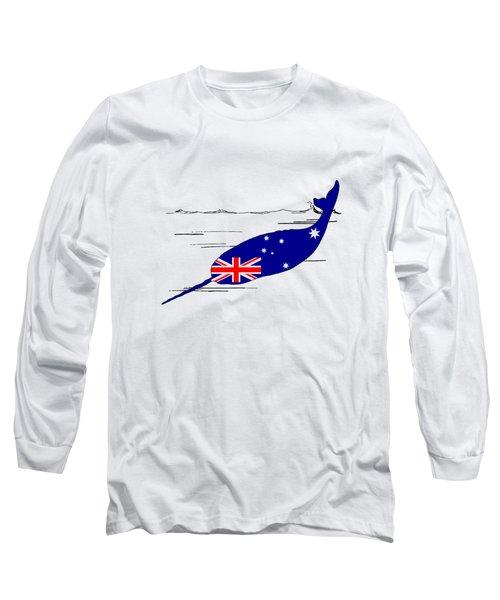 Australian Flag - Narwhal Long Sleeve T-Shirt by Mordax Furittus