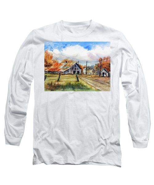 Long Sleeve T-Shirt featuring the painting Autumn At The Farm by Ron Stephens
