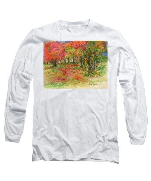Autumn Forest Watercolor Illustration Long Sleeve T-Shirt