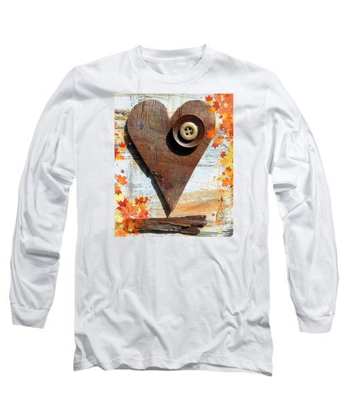Long Sleeve T-Shirt featuring the painting Autumn Heart by France Laliberte