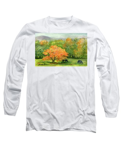 Autumn Maple With Horses Grazing Long Sleeve T-Shirt