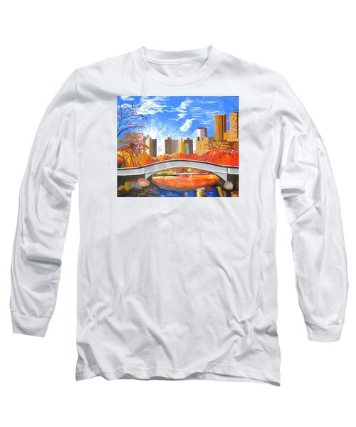 Long Sleeve T-Shirt featuring the painting Autumn Oasis by Donna Blossom