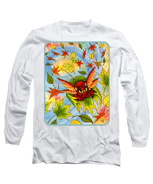 Long Sleeve T-Shirt featuring the painting Autumn Winds Fairy Cat by Carrie Hawks