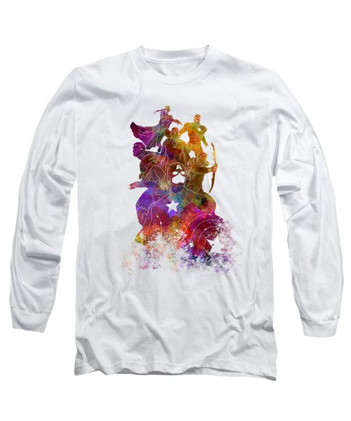 Avengers 02 In Watercolor Long Sleeve T-Shirt