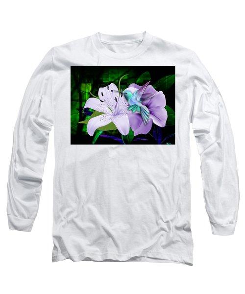 Long Sleeve T-Shirt featuring the mixed media Aviation Hummingbird by Marvin Blaine