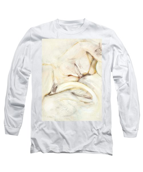 Long Sleeve T-Shirt featuring the drawing Award Winning Abstract Nude by Kerryn Madsen-Pietsch