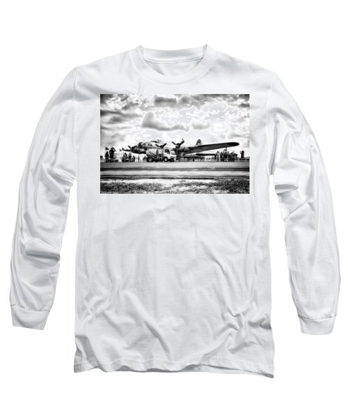 B-17 Bomber Fueling Up In Hdr Long Sleeve T-Shirt by Michael White