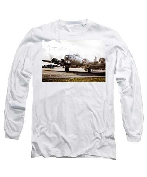 B-17 Bomber Ready For Takeoff Long Sleeve T-Shirt by Michael White