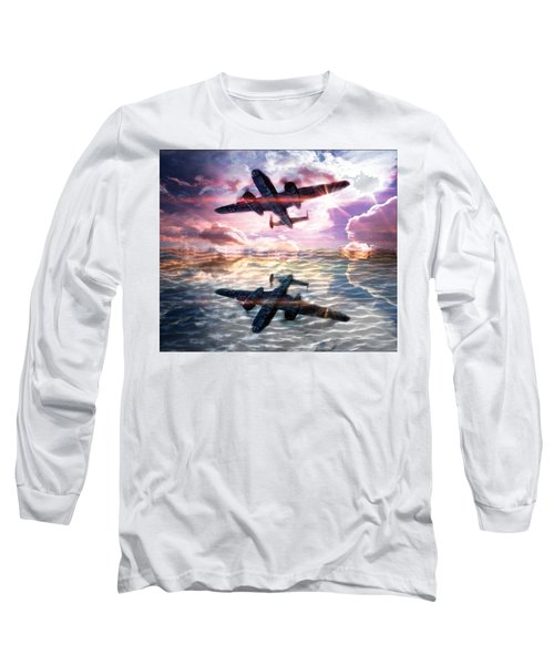 Water Long Sleeve T-Shirt featuring the digital art B-25b Usaaf by Aaron Berg