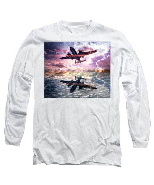 Long Sleeve T-Shirt featuring the digital art B-25b Usaaf by Aaron Berg
