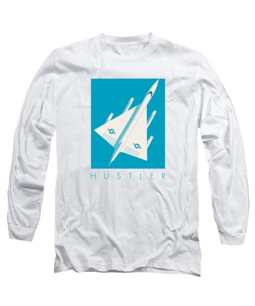 B-58 Hustler Supersonic Jet Bomber - Blue Long Sleeve T-Shirt