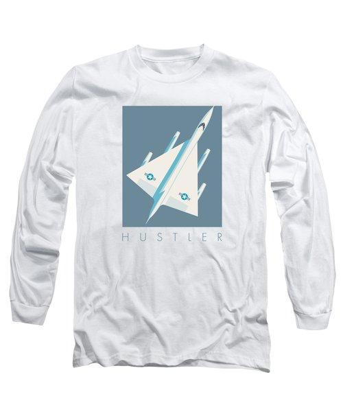 B-58 Hustler Supersonic Jet Bomber - Slate Long Sleeve T-Shirt